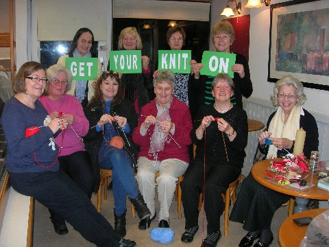 Some of our members knitting for the campaign